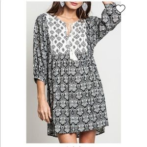 Umgee Black and White Boho Dress/Tunic Size L